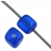 Glass Bead Cubes 4X4mm. Transparent Cobalt Blue - Strung
